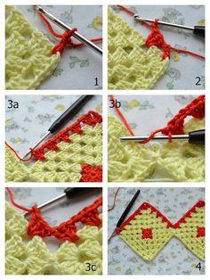 Granny Square Crochet Pattern, Crochet Stitches Patterns, Crochet Diagram, Crochet Squares, Crochet Granny, Stitch Patterns, Granny Squares, Crochet Afgans, Crochet Curtains