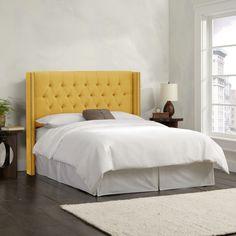 Skyline Furniture Linen French Yellow Diamond Tufted Wingback Headboard | eBay
