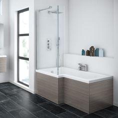 Brooklyn Grey Avola Shower Bath - 1700mm L Shaped with Screen & MDF Panel