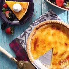 The crunchy topping for this custard pie can be made in the broiler or by using a kitchen torch. Top the finished Creme Brulee Pie with fresh berries for a colorful, showy finish.