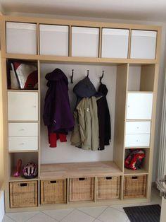unsere garderobe gebaut aus expedit 5x5 und expedit 1x5