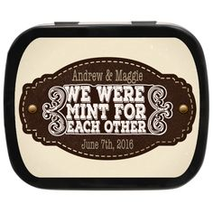 Leather Badge Personalized Country Wedding Mint Tins, these would be adorable wedding favors at #countrywedding #outdoorwedding #favoridea