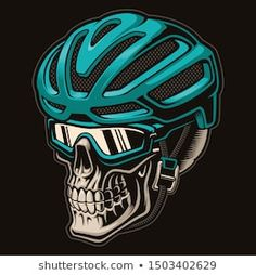 Colourful a skull cyclist in helmet Royalty Free Vector , Bmx Bikes, Cycling Bikes, Cycle Pic, Bike Rollers, Swimming Pictures, Bike Tattoos, Tatoos, Bike Logo, Bike Illustration