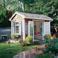 Imagine what it would be like to have this charming hideaway in your own backyard #sheshed #homedecor