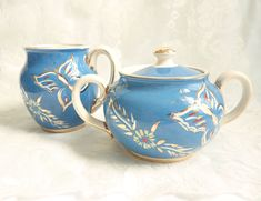 Vintage Sadler Blue Butterfly Cream and Lidded Sugar Bowl Hand Decorated
