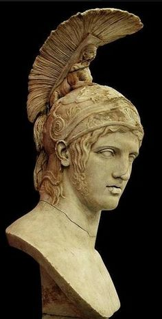 Head of Ares - after Greek original by Alkamenes 420 B.C, at the State Hermitage Museum, Saint-PetersburgAres[Mercury to the Romans] wearing the helmet with feathers [also on his ankles] that represent his celestial power as a messenger from Zeus. The swirl is symbolic of eternal life.