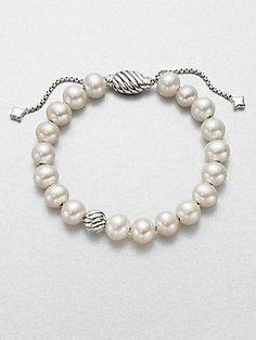 David Yurman - Spiritual Beads Bracelet with Pearls Pearl Bracelet, Pearl Jewelry, Diamond Jewelry, Jewelery, Silver Jewelry, Beaded Bracelets, Silver Rings, Yurman Bracelet, Necklaces