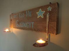 Salvaged wood night sign