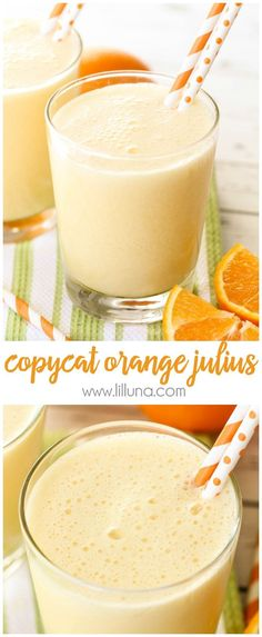 This Copycat Orange Julius recipe takes just a minute to make and is a favorite family treat! Ingredients include frozen orange juice concentrate milk sugar vanilla water and ice cubes to make this refreshing and simple drink. Orange Juice Smoothie, Fruit Smoothies, Smoothie Recipes, Shake Recipes, Cherry Smoothie, Protein Smoothies, Frozen Orange Juice Concentrate, Orange Drinks, Orange Jello
