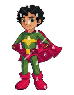 A Little Boy Superhero With A Cape: Royalty-free stock vector illustration of a confident young boy with dark hair wearing a superhero costume with a cape.  #kids #superhero #schoolboy #friendlystock #clipart #vector #art #graphic
