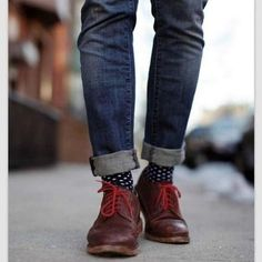 Rolled up jeans, show off the socks!
