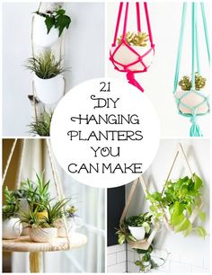 Decorate your house with one of these chic and trendy hanging planters. I've found 21 DIY hanging planters you can make at home to add a little greenery. Planters restaurant 21 DIY Hanging Planters YOU Can Make Cosas American Girl, Hanging Flower Pots, Diy Hanging Planter Macrame, Indoor Hanging Planters, Hanging Plant Diy, Macrame Plant Hanger Diy, Hanging Potted Plants, Succulent Hanging Planter, Diy Hanging Shelves