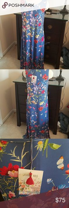 NWT JOHNNY WAS RAYON FLORAL DRESS Beautiful blue floral maxi dress by Johnny Was. Last call..... Going to consignment store.... This is 20 cents on the dollar!!! NWT Johnny Was Dresses Maxi