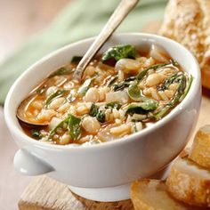 """Savory Bean-Spinach Soup - interesting that because the word """"savory"""" precedes the words bean and spinach it sounds more delicious.  Think about it. Add savory to """"Pork and Beans"""" or """"Macaroni and Cheese"""". Suddenly they are fine dining menu items."""