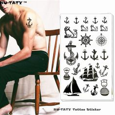 Nu-TATY Marine Pirate Anchor Temporary Tattoo Body Art Arm Flash Tattoo Stickers 17*10cm Waterproof Fake Henna Painless Tattoo