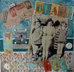 """SOLD - To The Beach - Mixed Media on Canvas - 12"""" X 12"""" - $125.00. This collage incorporates bits and bobs that remind us of the beach."""