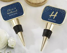 Personalized Gold Bottle Stopper with Epoxy Dome Under the Stars Blue Dots Wine Theme Wedding Favors Birthday Bridal Shower Bachelorette Unique Wedding Favors, Unique Weddings, Wedding Decor, Wedding Ideas, Wedding Stuff, Gold Bottles, Wine Bottles, Wine Glass, Navy Blue Wedding Theme