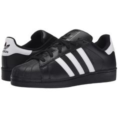 adidas Originals Superstar 2 (Black/White/Black) Classic Shoes (€72) ❤ liked on Polyvore featuring shoes, black, sneakers, black white shoes, leather upper shoes, white black shoes, adidas originals shoes and adidas originals
