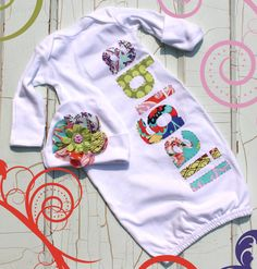 Personalized Newborn Gown and Cap 3 Baby Shower by BobosAndBinkies, $39.00