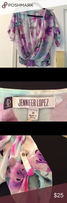 LAST CALL Jennifer Lopez top Pretty Jennifer Lopez top with lavender, pink and touches of light turquoise in floral design. Excellent condition! Jennifer Lopez Tops Blouses