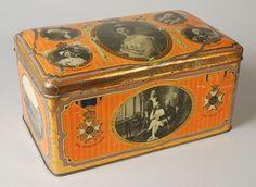 Groot blik met scharnierend deksel, 25-jarig regeringsjubileum van koningin Wilhelmina, oranje