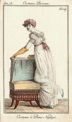 An 13 Costume Parisien Plate No 604 Regency Dress, Regency Era, Vintage Photos Women, Vintage Ladies, 19th Century Fashion, Fashion Plates, French Fashion, Costumes For Women, Fasion