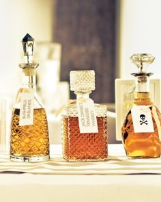 Place your liquor in vintage decanters for a wedding bar that exudes Old Hollywood glamour