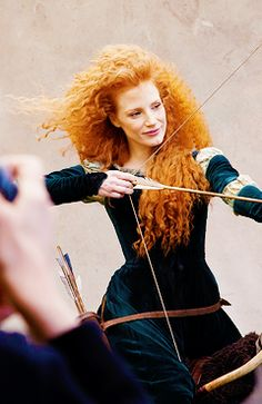 Behind the scenes of Jessica Chastain's Disney advertisement.  #JessicaChastain as Princess Merida from Brave.  Photographed byAnnie