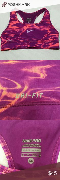 """NIKE *nwot* XS Dark Purple & Orange Sports Bra Brand: Nike  Item: *Size XS Dri-Fit Sports Bra *The Colors Are Deep Purple & Orange - Pic #1 is the Most Accurate of the Color *It Measures 11.75""""w x 10"""" Shoulder to Hem *NWOT - Never Worn   *no trades, offers via offer button only* Nike Intimates & Sleepwear Bras"""