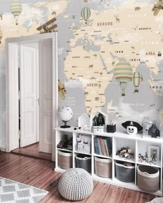 Kids Removable Wallpaper Mural Peel & Stick Wallpaper Self Adhesive World Map Remove Wall Paper Nursery Wall Mural Baby Boy Wallpaper Old Wallpaper, Nursery Wallpaper, Self Adhesive Wallpaper, Peel And Stick Wallpaper, Map Nursery, Nursery Wall Murals, Maps For Kids, Washable Paint, Focal Wall