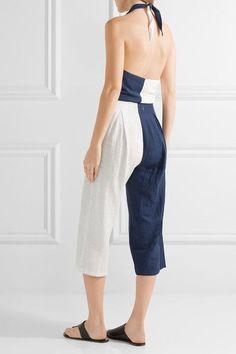 5ad41f9a904 Solid   Striped - The Camille color-block cotton-blend voile halterneck  jumpsuit