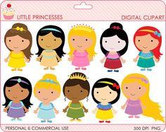 princess clipart digital clip art rapunzel cinderella snow white belle ariel - BUY 2 GET 2 FREE - Little Princesses Digital Clipart. $4.00, via Etsy.