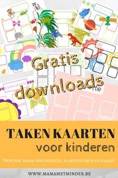 Gratis download! Leer je kinderen huishoudelijke taken aan op een leuke manier. Takenkaarten voor jonge kinderen.