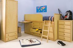 Wooden Captains Bed This Captains Bed can sleep kids or adults and offers a huge amount of storage for clothes, bedding, toys and other items. There are four large drawers on easy glide metal runners and two deep cupboards which can have removable shelves added to suit storage needs. A ladder and a choice of safety wings or a safety panel for the front of this bed are included. Very popular with teenagers. | Childrens Bed Centres