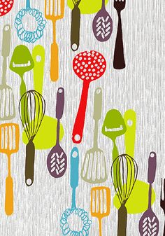 """Patrick Edgeley 'Kitchen Utensils' Design Supremo has a very nice selection of prints and does exactly what it says on the tin - """"Desig. Kitchen Prints, Kitchen Art, Kitchen Tools, Kitchen Design, Kitchen Decor, Kitchen Quotes, Kitchen Modern, Kitchen Stuff, Vintage Kitchen"""