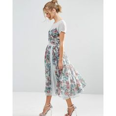 ASOS SALON Soft Floral Midi Prom Dress (€40) ❤ liked on Polyvore featuring dresses, blue, mid calf dresses, midi dresses, floral print midi dress, blue floral dress and prom dresses