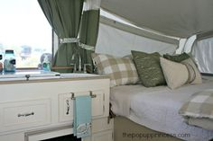 Pop Up Camper Remodel: The Big Reveal! We took our used tent trailer from tired decor to a cozy cottage look. Tent Trailer Camping, Pop Up Tent Trailer, Trailer Decor, Vintage Camper Decorating, Decorating Your Rv, Popup Camper Remodel, Camper Renovation, Glamping, Best Pop Up Campers