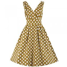 'Orchid' Mustard Party Polka Dot Swing Dress