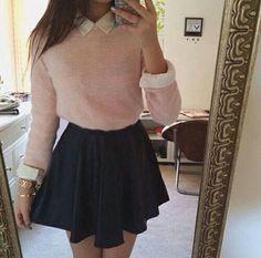 me encanta esta falda y sobre todo combinada con ese jersey y esa camisa,me parece adorable me encanta