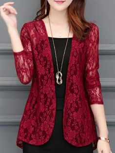 See-Through Floral Plain Long Sleeve Cardigans - Herren- und Damenmode - Kleidung Women's Dresses, Cute Dresses, Fashion Dresses, Fall Dresses, Stylish Dresses, Dresses Online, Fall Outfits, Casual Dresses, Casual Outfits