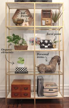 how to style a shelf, family friendly shelf, family friendly decor, how to style a bookshelf, ikea vittsjo shelf, ikea shelf diy, gold ikea shelf, marble adhesive paper, kait bos blog