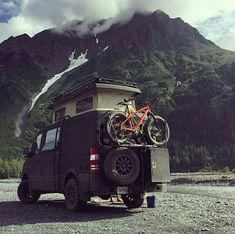 Sportsmobile Sprinter van with Aluminess rear bumper system Van Conversion Interior, Camper Van Conversion Diy, Sprinter Conversion, Van Camping, Camping Life, Camping Ideas, Vw T, Volkswagen, Overland Truck