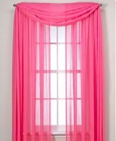 "SHEER / SCARF Window Treatments Curtains Drape Valances 63"" 84"" 95"" HOT PINK"