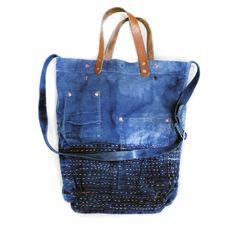 Indigo Striped Market Tote — Rigg - Handmade Bags, Textiles & More