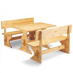 LUSSARI, panca dallo stile rustico tirolese realizzata completamente in legno di pino.