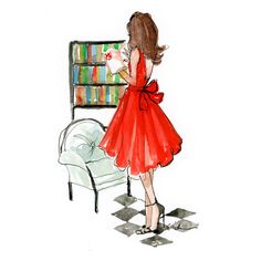 Fashion Illustration Art Print The Classic Reader ❤ liked on Polyvore featuring accessories