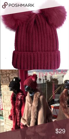 🍷Wine is fine🍷 Buy burgundy this FALL/WINTER HAT Knit beanie with faux fur double Pom Pom.  See other colors available in my closet. This post you are buying burgundy Wine 🍷 Accessories Hats