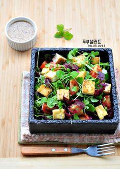 진짜 쉬워~두부샐러드 소스 황금비율 오리엔탈 드레싱 만들기! : 네이버 블로그 Tofu Recipes, Healthy Dinner Recipes, Asian Recipes, Breakfast Recipes, Cooking Recipes, K Food, Food Menu, Clean Eating, Healthy Eating