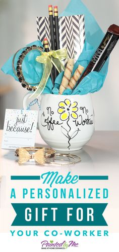Need a fast and fun gift idea for your favorite co-worker?  Pick up some PaintedbyMe Markers and a mug and create a funny personalized design in just minutes.  Fill your mug with chocolate or other office goodies and leave the surprise at their desk!