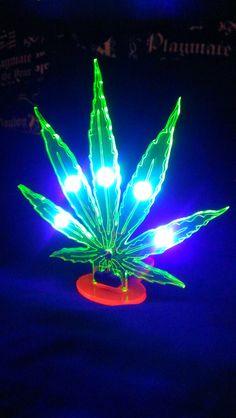 Pot Leaf blacklight UVLED lamp / nightlight. by LeningradLaserLab, $45.00